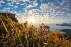 Natura zmierzch sceniczny przy Phu Chi Fa zdjęcie royalty free