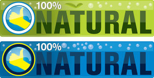 Natural. 100 percent natural sign message on a wooden panel and green plant - image is isolated on a white background vector illustration