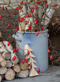 Natural advent or christmas decoration with rose hips. Royalty Free Stock Photography