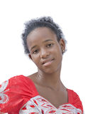 Natural Afro beauty wearing an embroidered dress, no make-up Royalty Free Stock Image