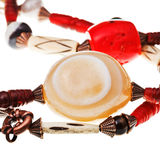Natural agate stone in string of beads Royalty Free Stock Image