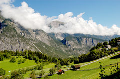 Natural alpine landscape of mountains Stock Photos