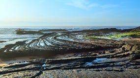 Natural amphitheater on beach (Algarve, Portugal). Stock Photo
