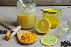Honey Golden Turmeric. Natural antibiotic with honey Golden Turmeric Stock Photos