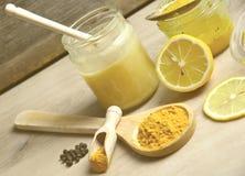Honey Golden Turmeric. Natural antibiotic with honey Golden Turmeric Stock Image