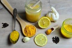 Honey Golden Turmeric. Natural antibiotic with honey Golden Turmeric Royalty Free Stock Photo