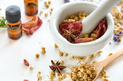 Natural apothecary with essential oils Stock Images