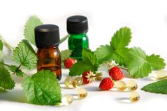 Natural apothecary with strawberries Royalty Free Stock Photos