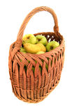 Natural apple in basket Stock Images