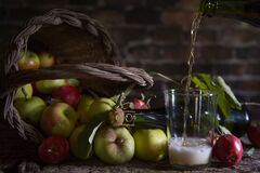 Natural Apple Cider In A Winery In Asturias Stock Image