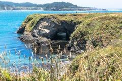Natural Arc, Mendocino Coast, California. View of a natural arch along the coast of Mendocino, California Stock Photo