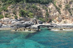 Natural arc in the National Park of the Gulf of Orosei and Gennargentu - Sardinia.  Royalty Free Stock Photography