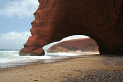 Natural arc and ocean. Two arches in Legzira beach, Morocco Stock Image