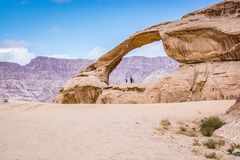 Free Natural Arch In Desert With Sandstone And Granite Rock Wadi Rum In Jordan Stock Photos - 152111283