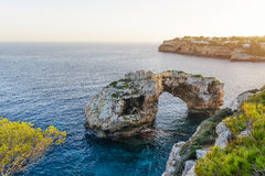 Natural arch in Cala Santanyi on Mallorca Stock Image