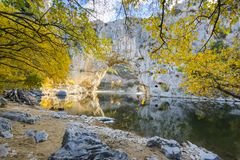 Natural arch over the river at Pont d`Arc in Ardeche. In France Royalty Free Stock Images
