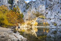 Natural arch over the river at Pont d`Arc in Ardeche. In France Stock Photos