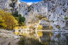 Natural arch over the river at Pont d`Arc in Ardeche. In France Royalty Free Stock Photo