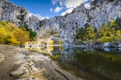 Natural arch over the river at Pont d`Arc in Ardeche. In France Stock Images