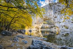 Natural arch over the river at Pont d`Arc in Ardeche. In France Stock Photo