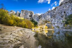 Natural arch over the river at Pont d`Arc in Ardeche. In France Royalty Free Stock Image