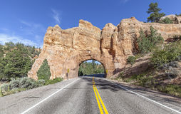 Natural arch road tunnel on the Scenic Byway 12, USA. Stock Images
