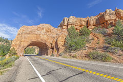 Natural arch road tunnel on the Scenic Byway 12. Royalty Free Stock Image