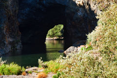 Natural Arch of rocks on the river Sil Stock Image