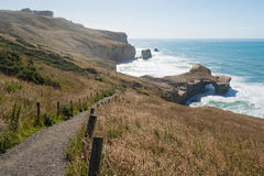 Natural arch at Tunnel beach, Dunedin, New Zealand Stock Image
