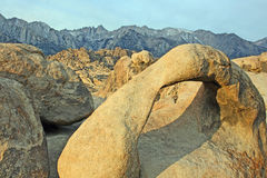 Natural Arch and view at Mt Whitney. Image made in Alabama Hills, California Stock Photography