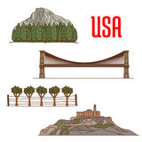 Natural and architecture landmarks of America Royalty Free Stock Image
