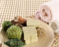 Natural Aromatherapy Artisanal Soap in a Spa Stock Photos