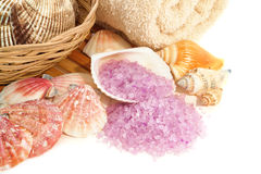 Natural Aromatherapy Bath Sea Salts with Seashells Royalty Free Stock Photos