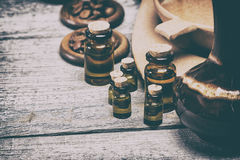 Natural aromatic essential oils in retro style Stock Photos