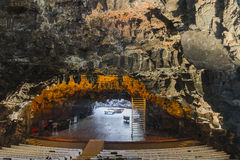 Natural auditorium. Lava tunnel cave at Jameos del Agua, Lanzarote, used as auditorium because of its unique acoustical ability. Canary Island ,Spain royalty free stock photos