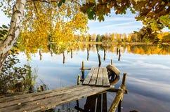 Natural autumn frame with Swedish lake Stock Photos