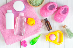 Natural baby bath cosmetics with duck top view Stock Photos