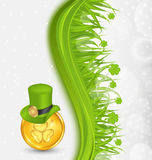 Natural background with coin, hat, shamrocks, gras Royalty Free Stock Image