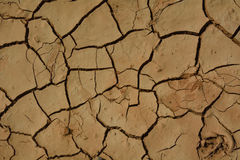 Natural background of cracked earth. In desert of island Fuerteventura Stock Photo