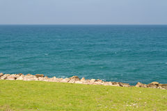 Natural background of green grass and blue sea Stock Images