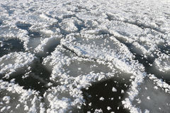 Natural background from ice and snow on the river Royalty Free Stock Photos