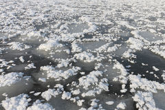 Natural background from ice and snow on the river Stock Images