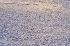 Natural background - ice surface of snow illuminated by the rays of the evening sun. The sun`s rays bouncing off the gleaming cry Royalty Free Stock Photo