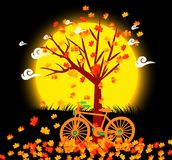 Natural background with leaves and bicycle under the moonlight Royalty Free Stock Photos