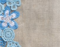 Natural background linen and handmade lace Stock Photo