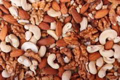 Natural background made from mixed nuts Royalty Free Stock Images