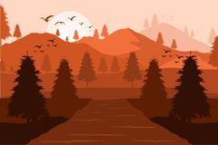 Vector Background Of Mountains At Sunset royalty free illustration