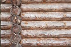 Natural background pattern of log wall. Stock Photography