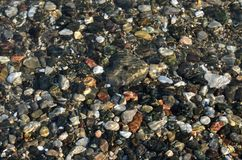 Natural background. Pebbles in water royalty free stock image