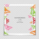 Natural Background Photo Frame Template with Butterfly for post in Social Network. Vector Illustration EPS10